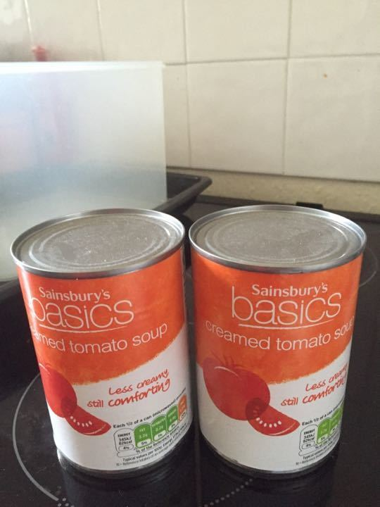 2 cans of tomato soup, in date