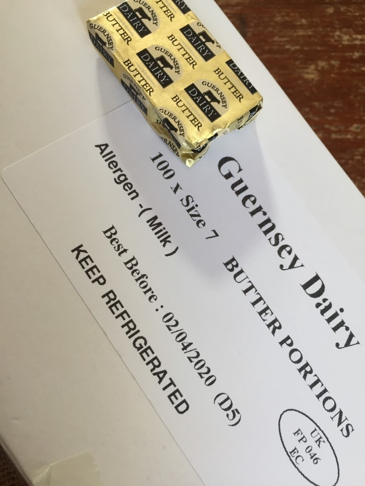 STRICTLY 1 BOX PER PERSON 100 individual Guernsey butter portions .