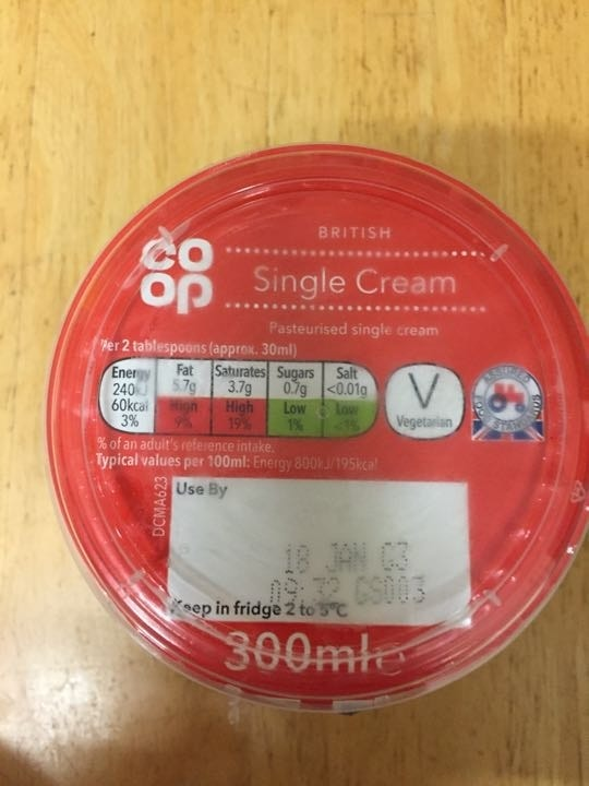 Single cream pick up by 10.30 please