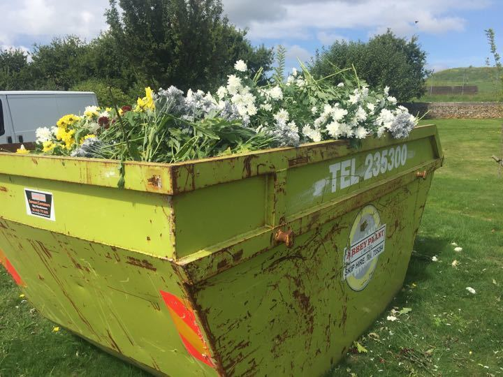 Flowers in skip at st brelades