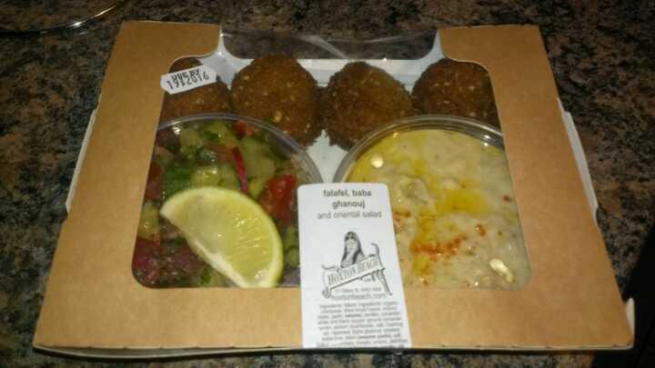 Falafel, baba ghanouj and oriental salad box