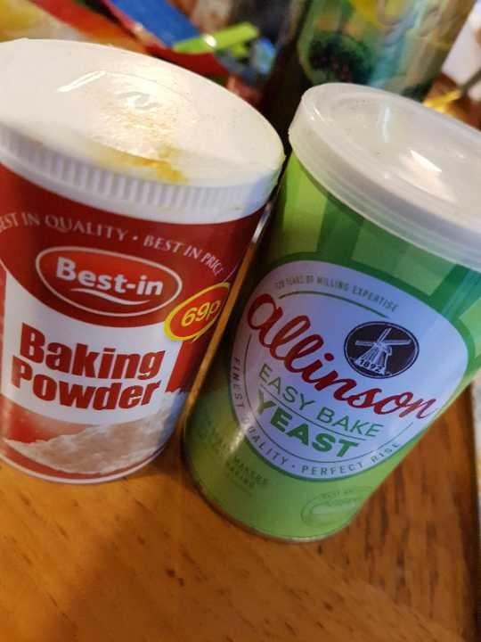 Dried yeast and baking powder