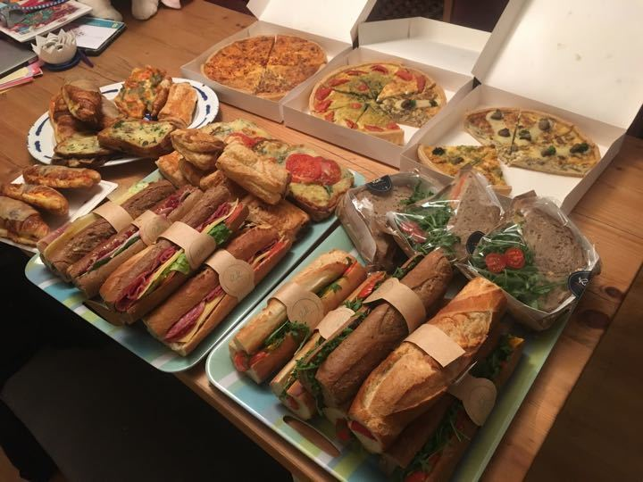 Large selection of savoury food