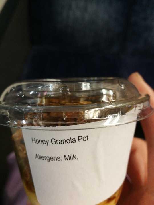 honey granola pot x 2, avo & green pot x1,bircher musseli x2