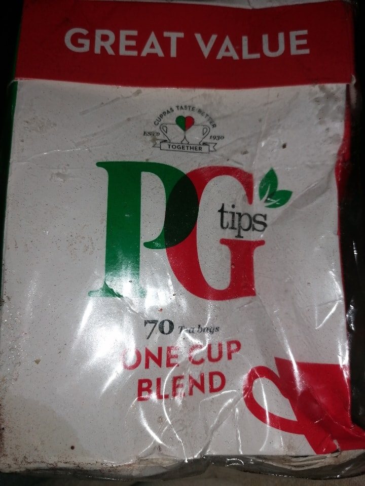 Damaged box of unopened PG Tips