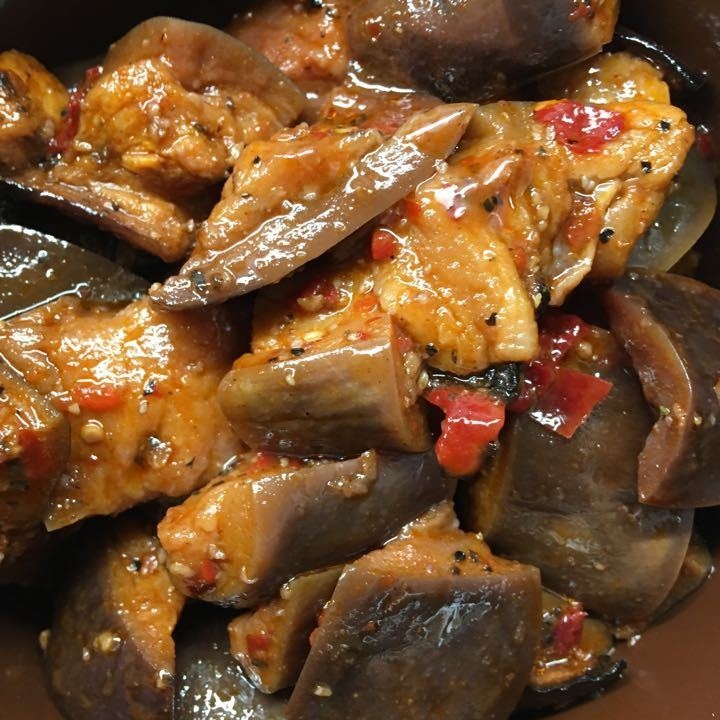Spicy aubergine salad