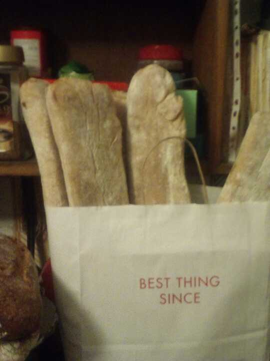 White bread donated by local artisan bakery