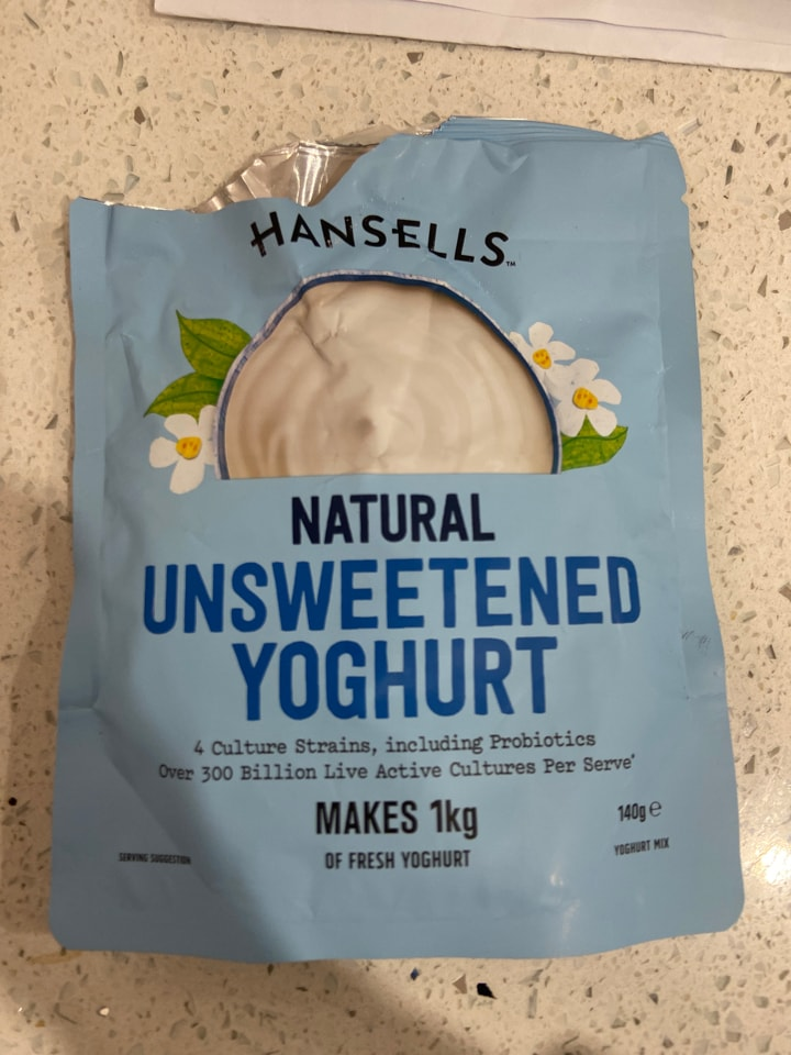 Opened hansells natural unsweetened yoghurt