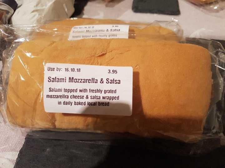Salami mozzarella and salsa panini