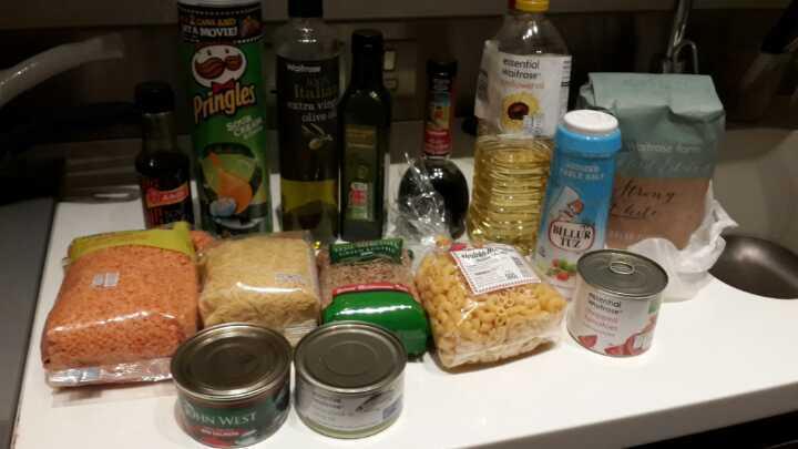 Olive oils, vinegar, lentils, canned food etc