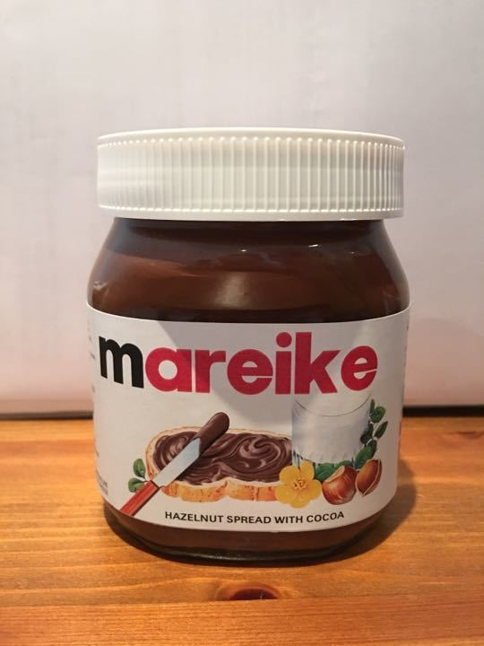 Nutella 400g jar personalised for a friend