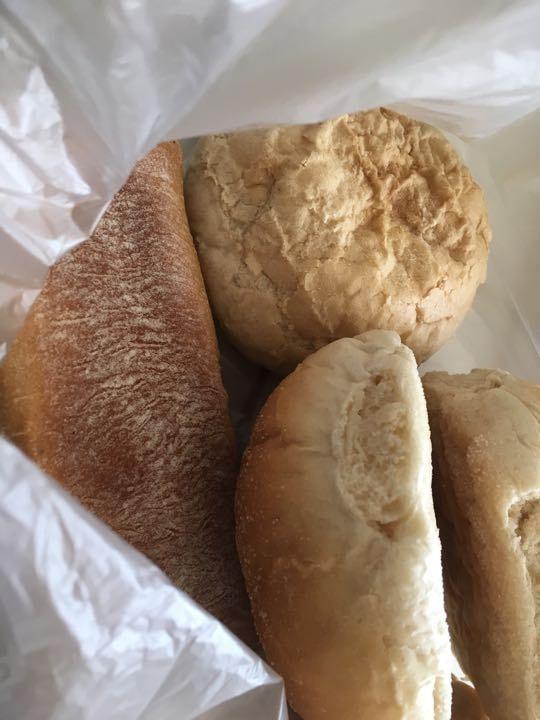 2 white rolls, 2 ciabatta bread