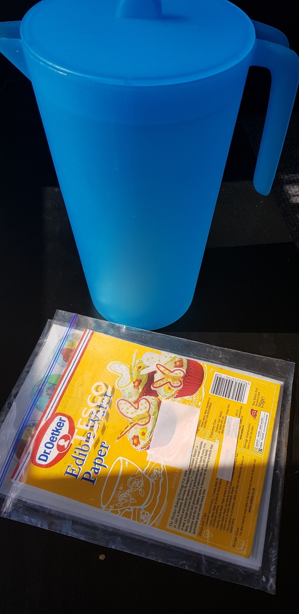 Jug and edible wafer paper