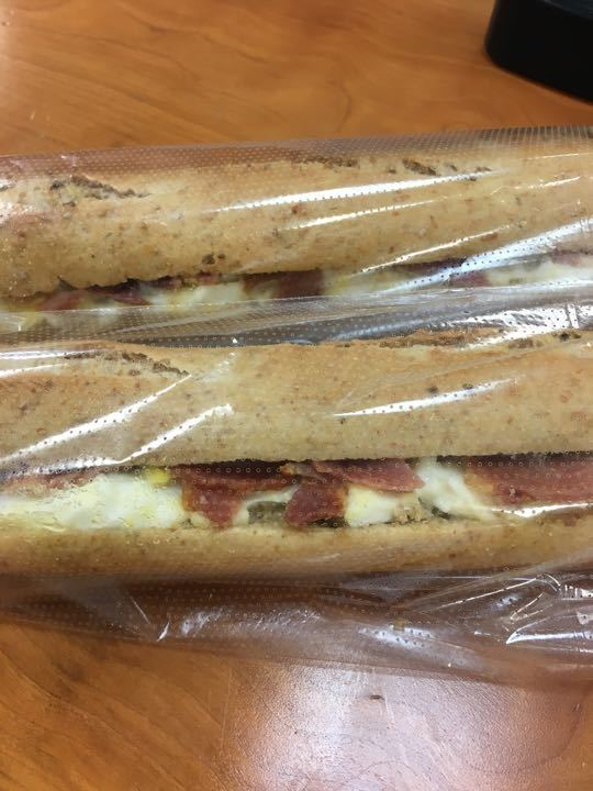 Egg and Bacon baguette