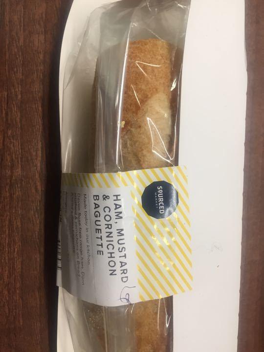 Ham, mustard & cornichon baguette