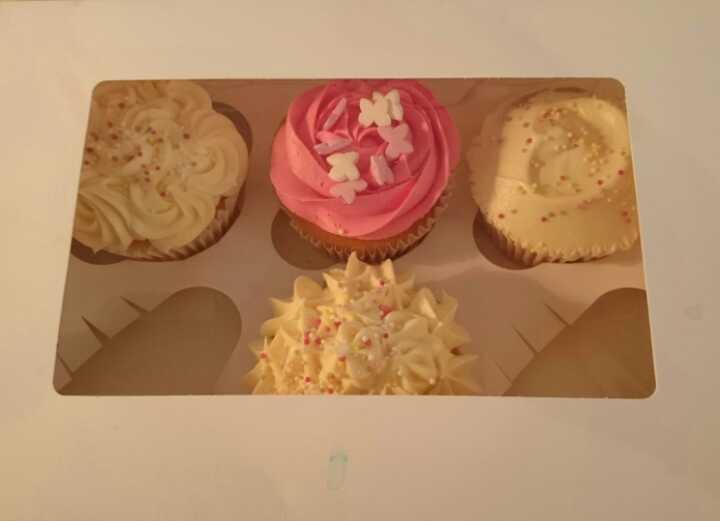 4 cupcakes Angel Food Bakery