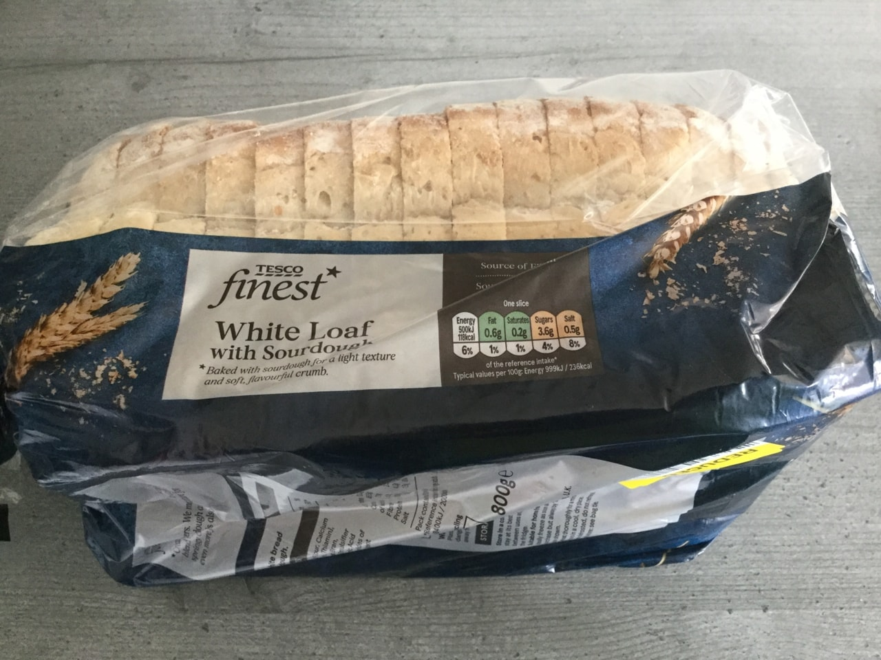 Tesco finest white loaf with sourdough  800g