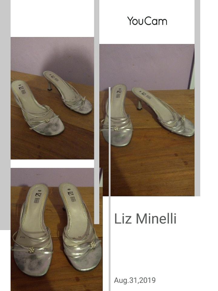 Zapatillas  #3 o 3 1/2 plateadas, medio uso,