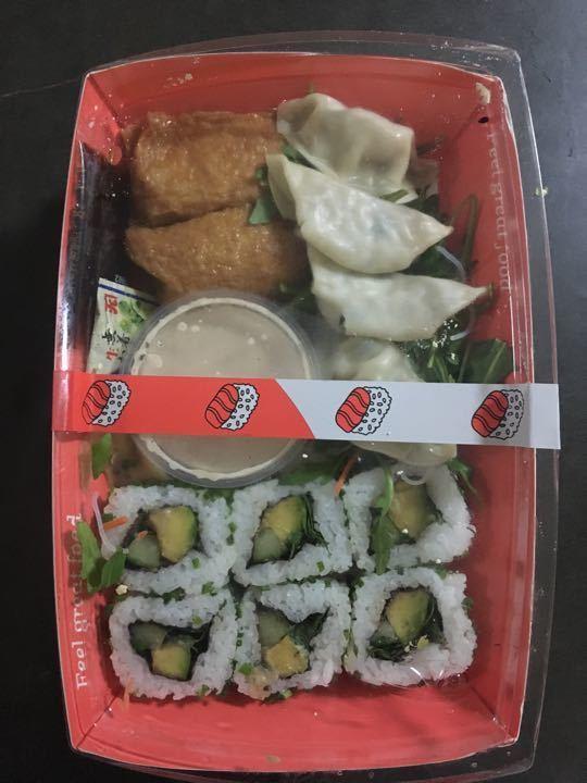 Vegan sushi & dumpling tray