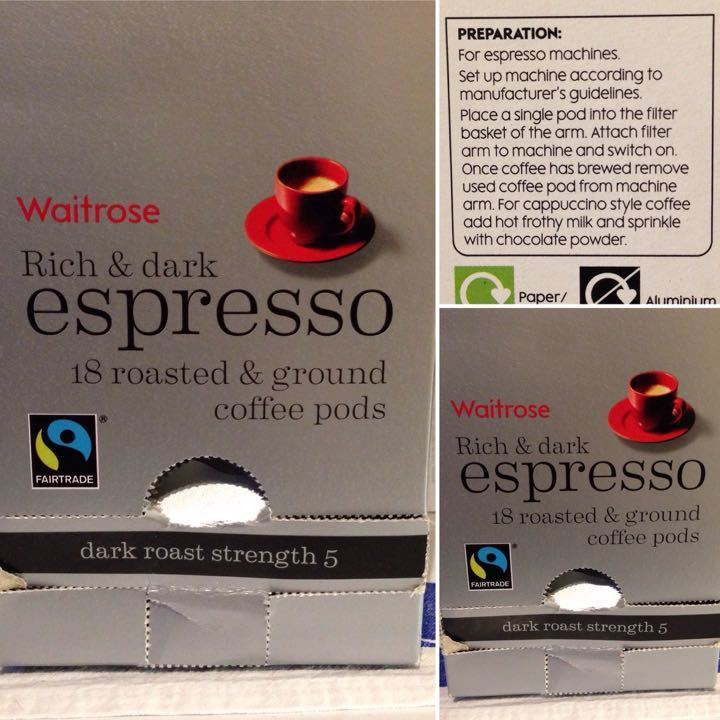 Waitrose ground coffee pods for espresso machine