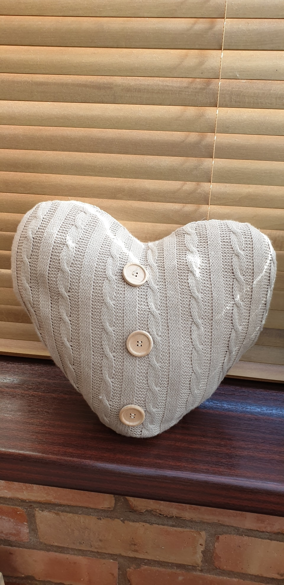 Knitted heart shaped cushion 🎂