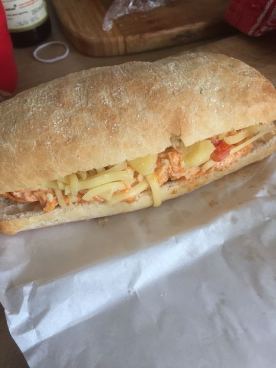 Mexican chicken and cheese ciabatta