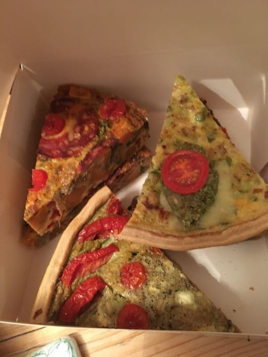 Meat filled quiche slices