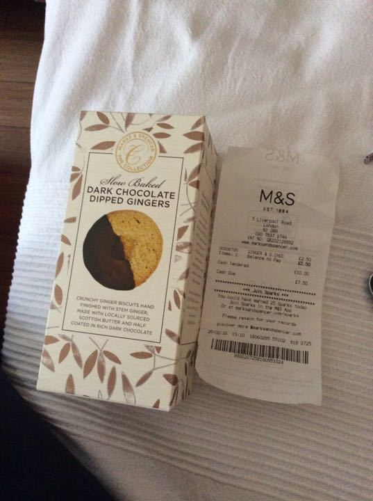 Marks and Spencer dark chocolate dipped ginger biscuits