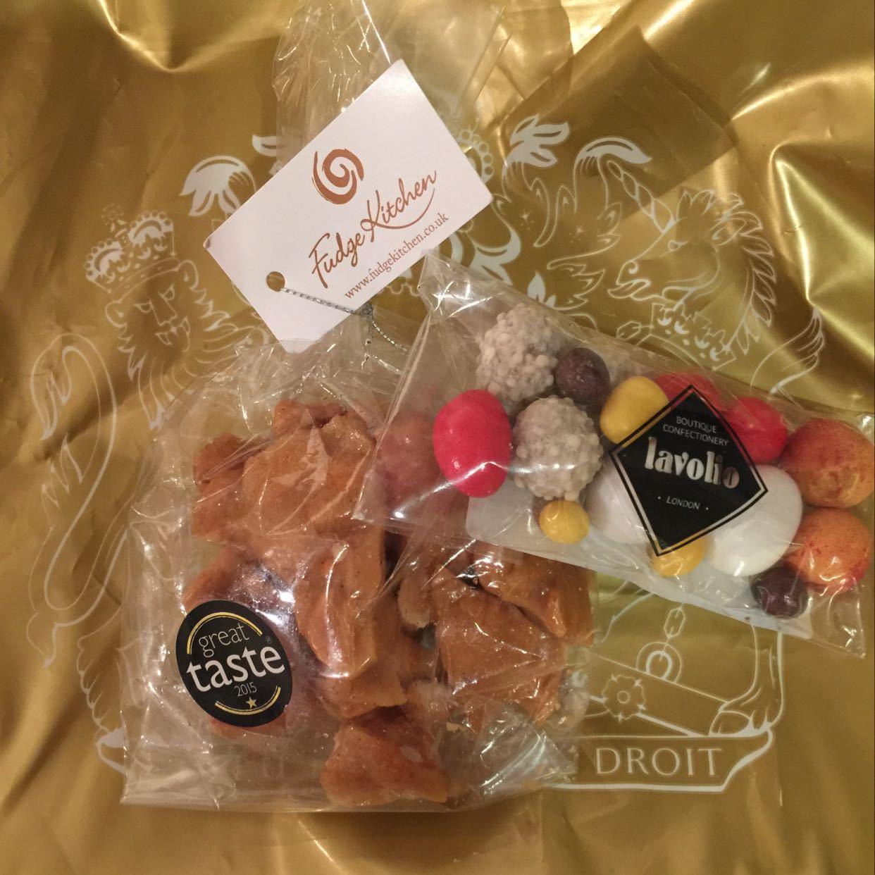 Peanut Brittle & mini Decadent Spiced snack bag