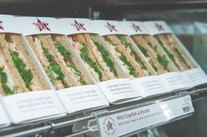 Fresh Pret a manger sandwiches, baguettes and salads