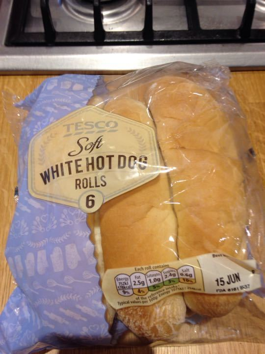 Tesco soft white hot dog rolls