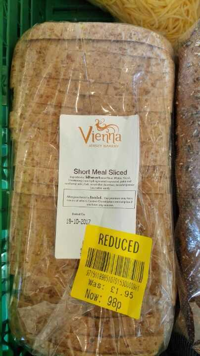 Short meal sliced