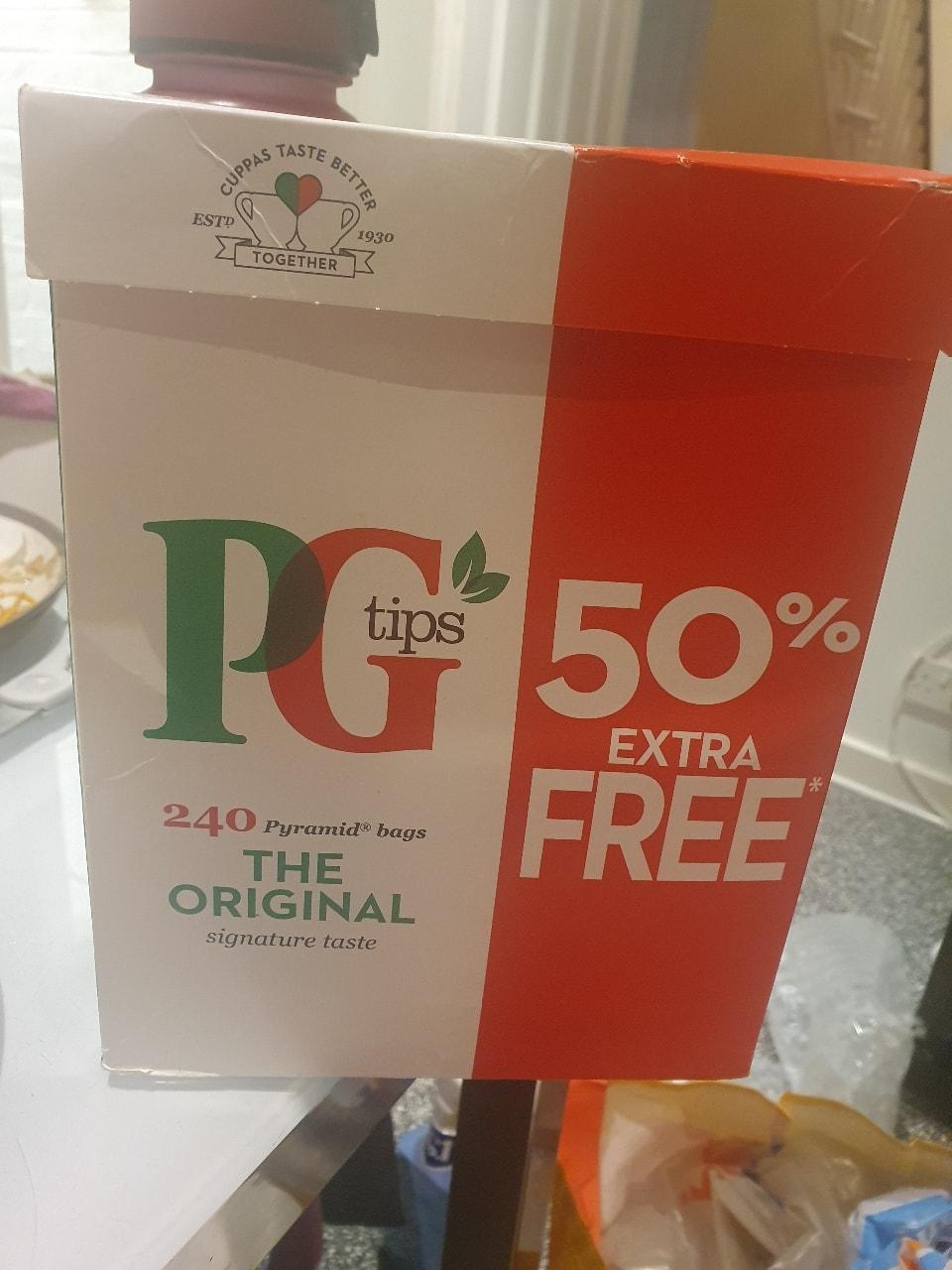 PG tips tea bags (note- past best before)