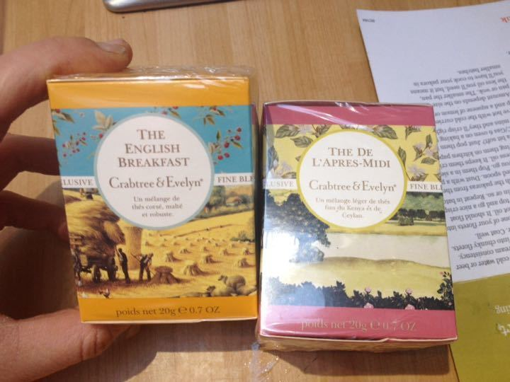 Two packets of tea from Crabtree and Evelyn. English breakfast and afternoon tea. Expiry is May and April 2015 but I'm sure they're fine. Still in cellophane.