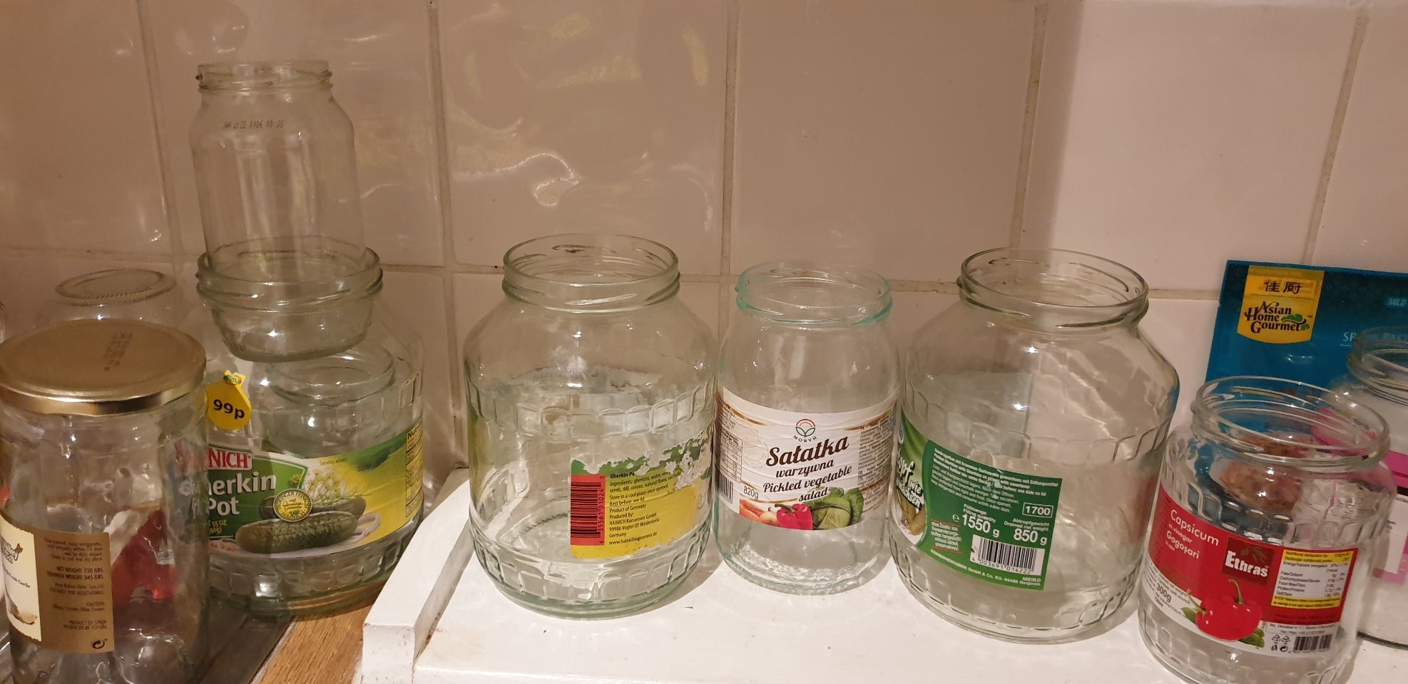 Lots of empty jars, lids and everything