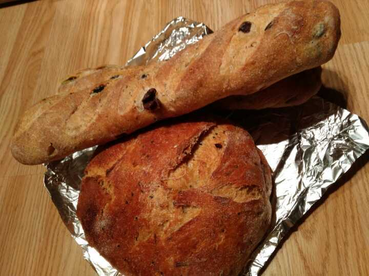 Gail's olive bread and wholemeal bread