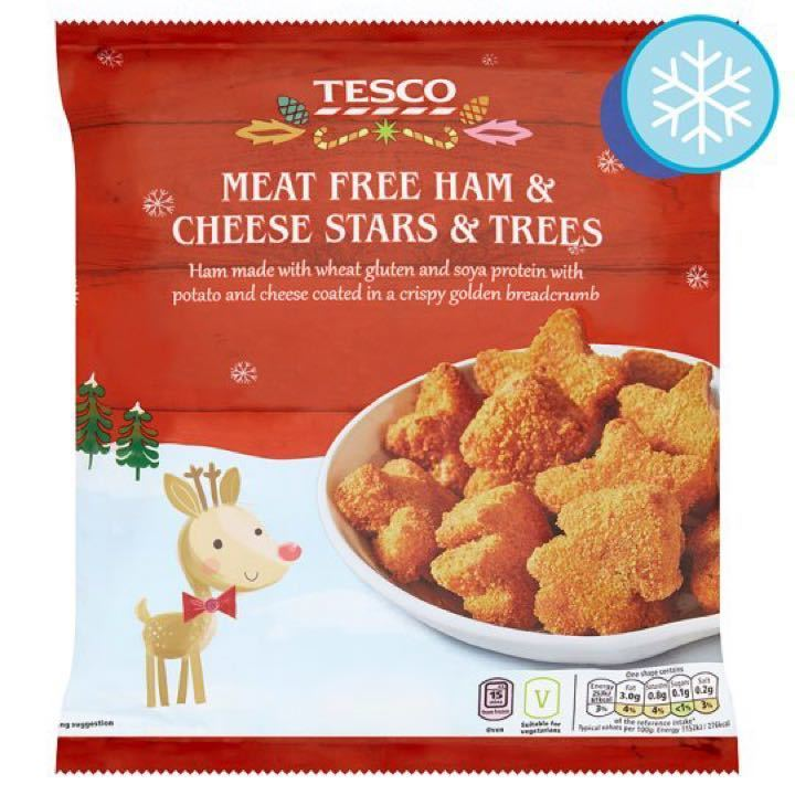 Vegetarian ham and cheese shapes.