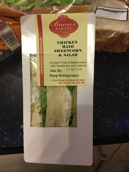 Chicken mayo and sweet corn sandwich