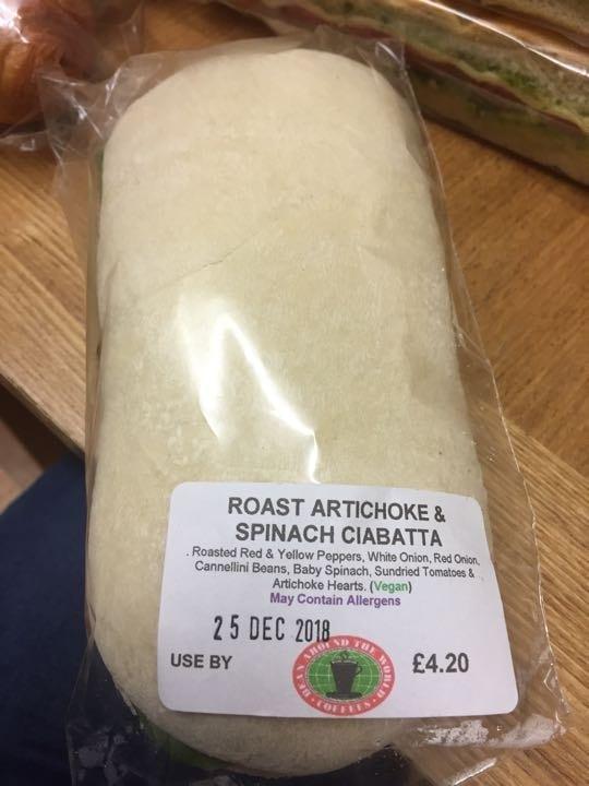 Artichoke and spinach ciabatta