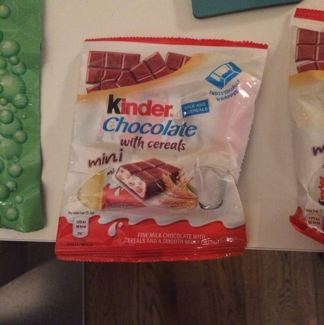 Packs of mini kinder chocolates