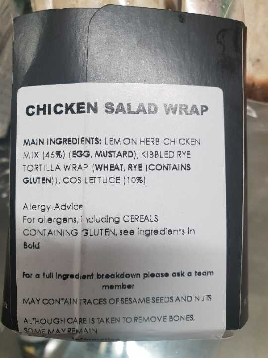 1 x Chicken salad wrap kindly donated by Eat