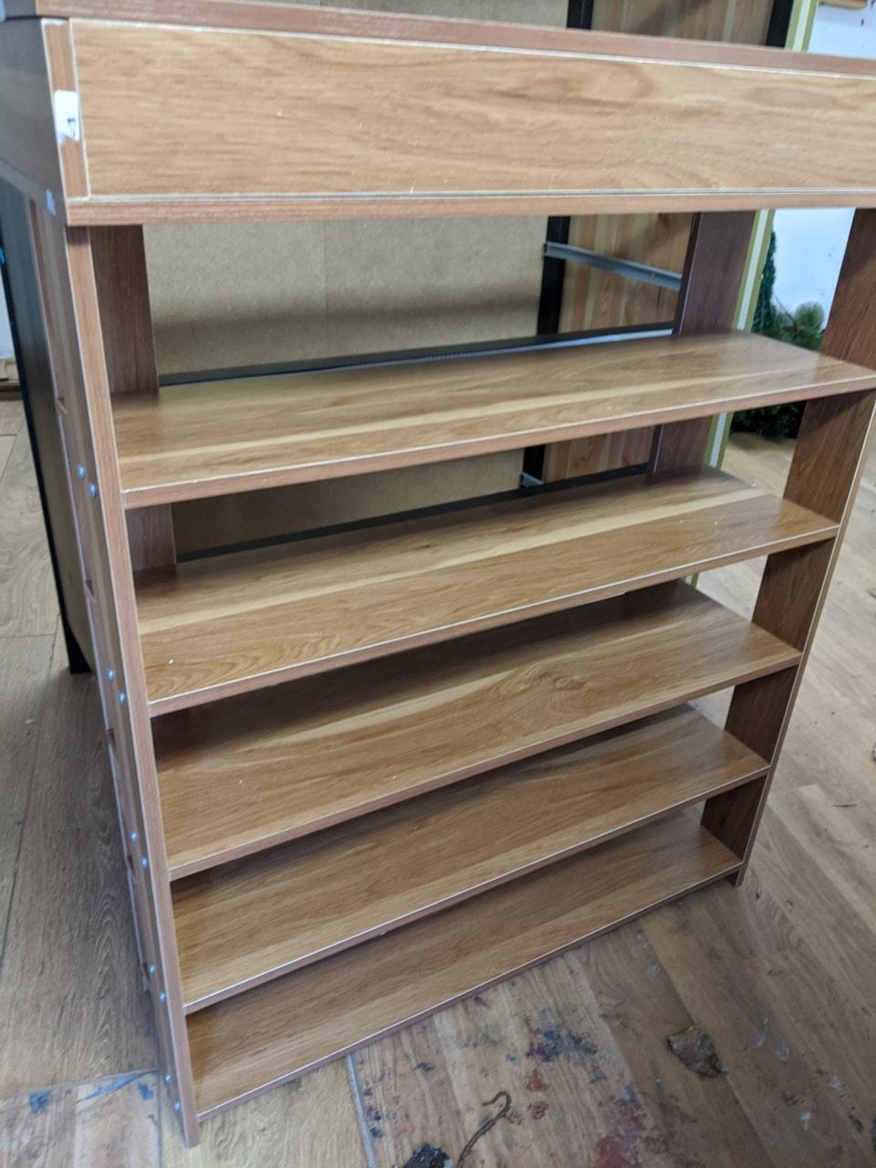 Brown shoe rack/top opens