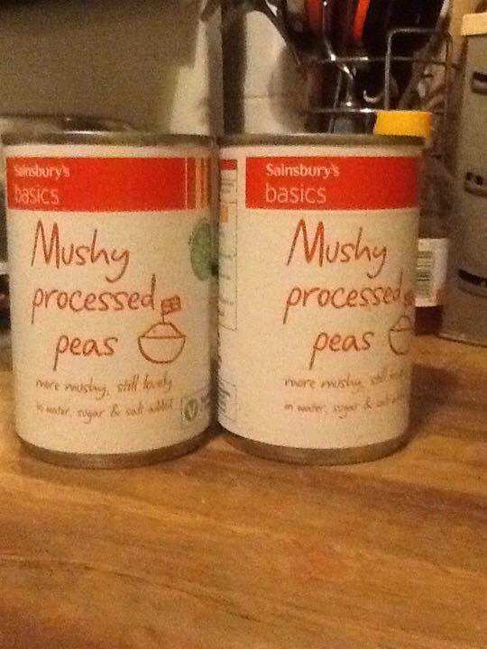 Tins of mushy peas