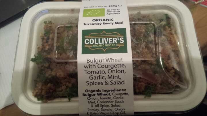 2 x COLLIVERS ORGANIC FOOD Co. VEGAN Bulgar Wheat with Courgette, Tomato, Onion, Garlic, Mint, Spices & Salad