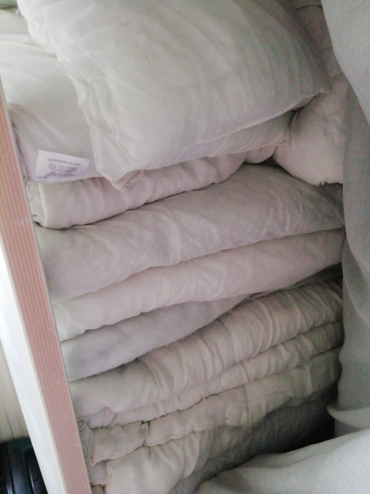 Old duvets and pillows