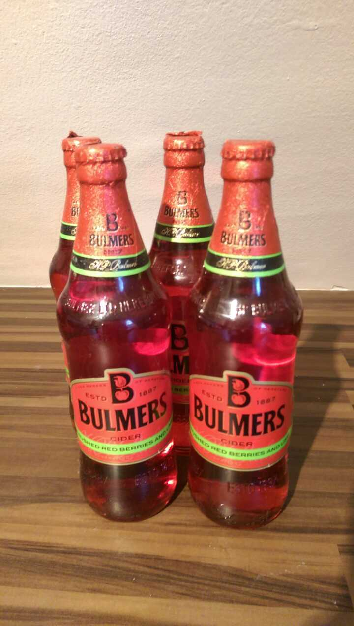 4 bottles of Bulmers crushed red berries and lime cider