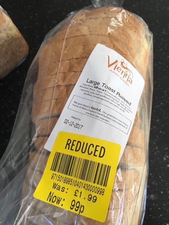 Large white toast raised