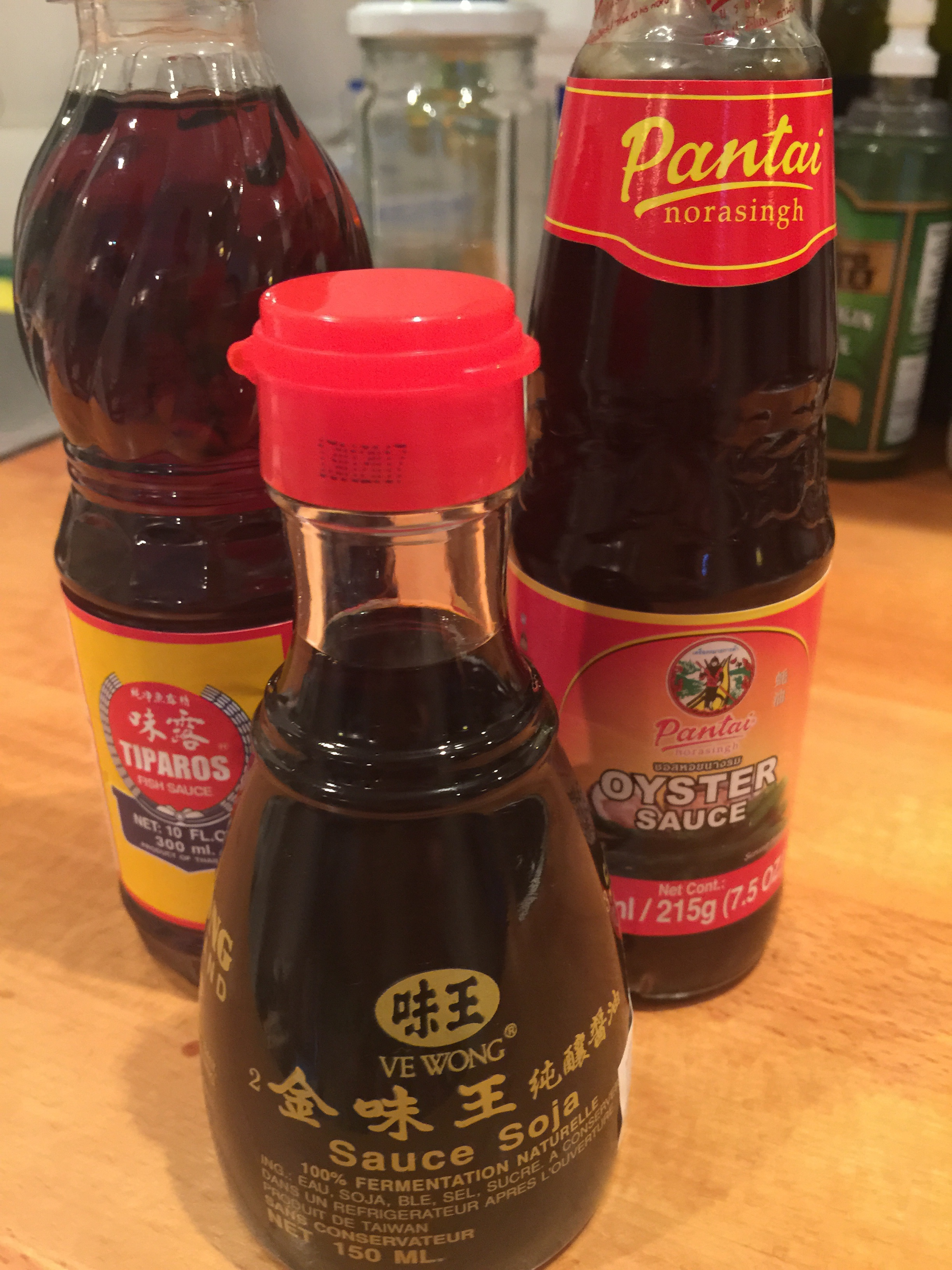 Oyster sauce, soy sauce, fish sauce, All unopened and in date
