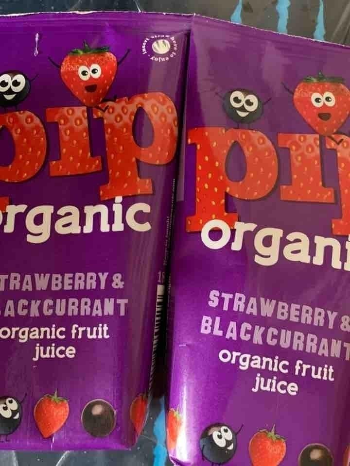 Pop organic strawberry and black current juice carton