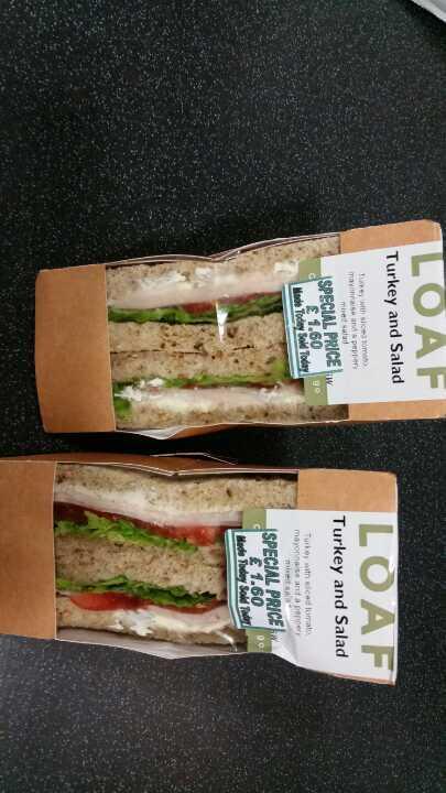 2 turkey and salad sandwiches